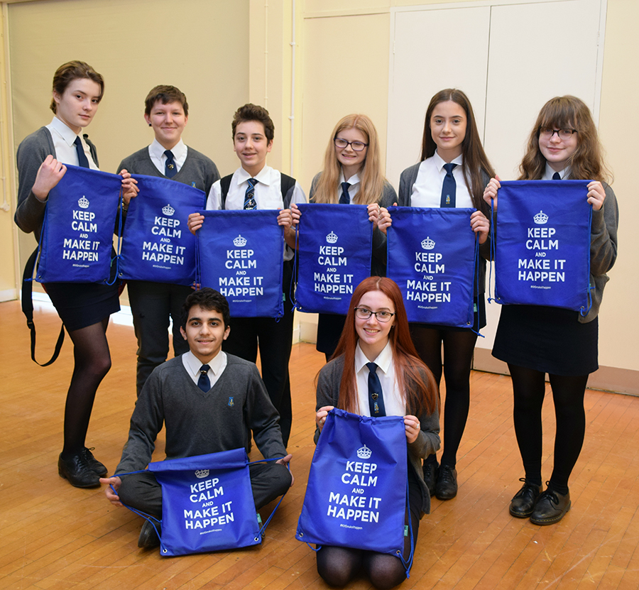 Year 11 pupils with their free goodies